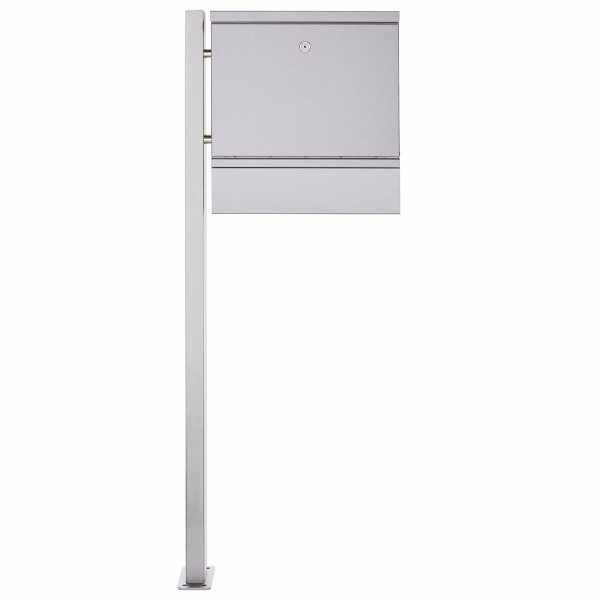1 Säulen Design Standbriefkasten BRECHT ST-BP mit Zeitungsfach - Edelstahl V2A geschliffen