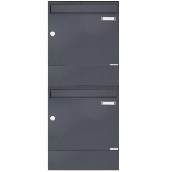 2er 2x1 Aufputz Briefkasten BASIC 382A AP mit Zeitungsfach - RAL 7016 anthrazitgrau