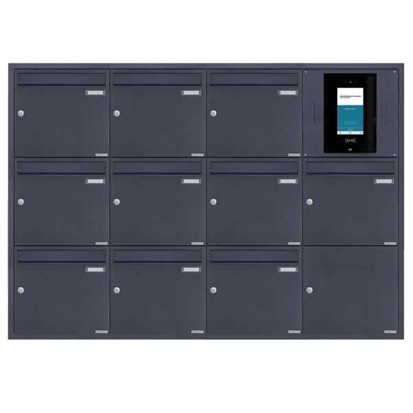10er 4x3 Edelstahl Unterputzbriefkasten BASIC Plus 382XU UP - RAL - STR Digitale Türstation