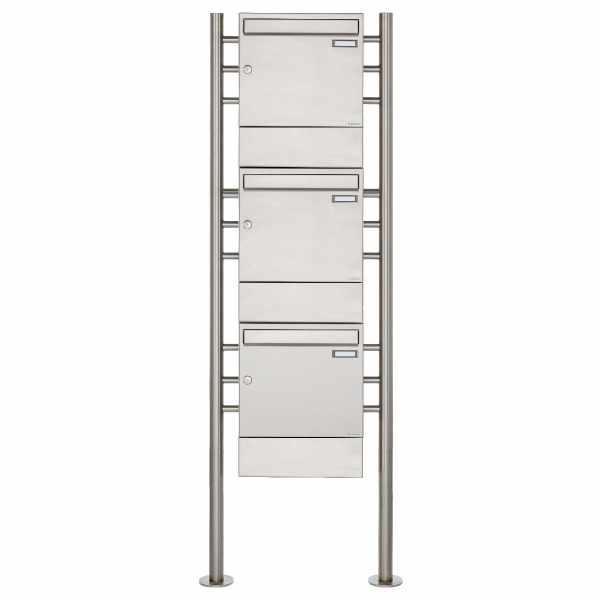 3er 3x1 Edelstahl Standbriefkasten Design BASIC 381 ST-R mit Zeitungsfächer