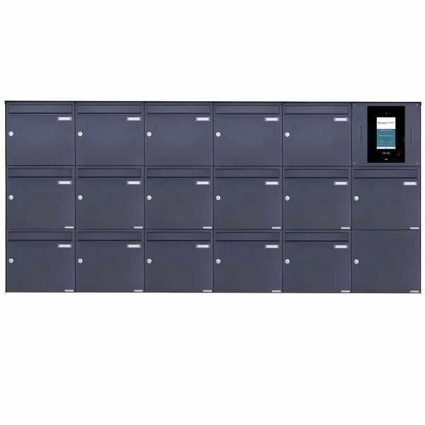 16er 6x3 Edelstahl Aufputzbriefkasten BASIC Plus 382XA AP - RAL nach Wahl - STR Digitale Türstation