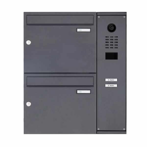2er Aufputzbriefkasten BASIC Plus 592C AP mit DoorBird D2100E Video- Sprechanlage - RAL nach Wahl