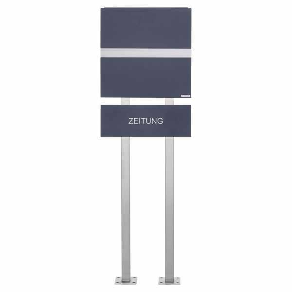 Edelstahl Design Standriefkasten KÄSTNER mit Zeitungsfach - Design Linie ONE in RAL nach Wahl