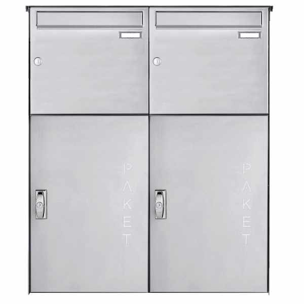 2er Edelstahl Aufputz Großraumbriefkasten BASIC 863 AP mit Paketfach 550x370