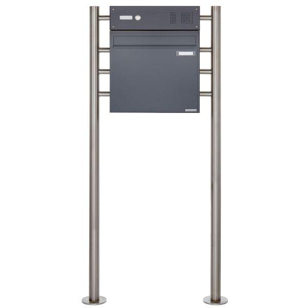 Standbriefkasten als Zaunbriefkasten BASIC 381Z ST-R mit Klingelkasten - Anthrazit-Grau RAL 7016