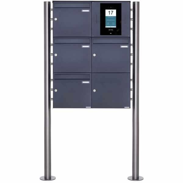 4er 3x2 Edelstahl Standbriefkasten BASIC Plus 381X ST-R - RAL- STR Digitale Türstation - Komplettset