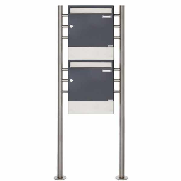 2er 2x1 Standbriefkasten Design BASIC 381 ST-R mit Zeitungsfächer - Edelstahl-RAL 7016 anthrazitgrau