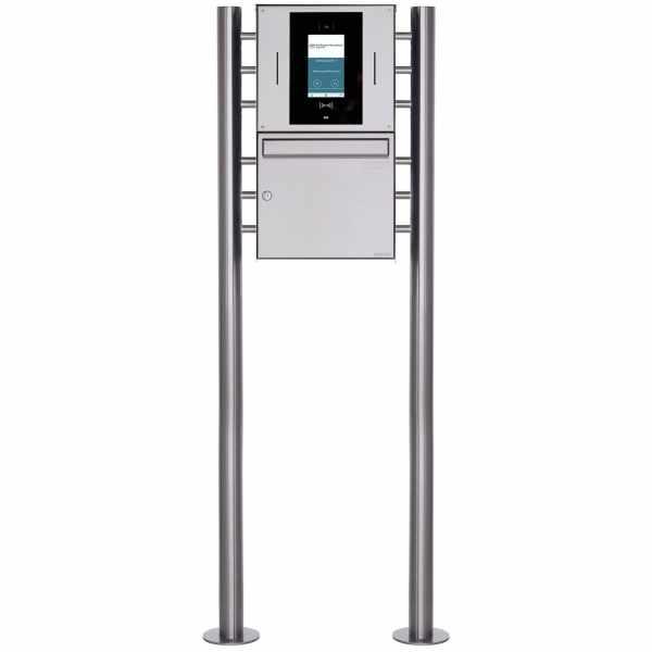 Edelstahl Standbriefkasten BASIC Plus 381X ST-R - STR Digitale Türstation - Komplettset