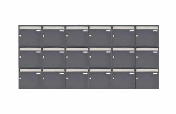 18er 3x6 Aufputz Briefkastenanlage Design BASIC 382 AP - Edelstahl-RAL 7016 anthrazitgrau