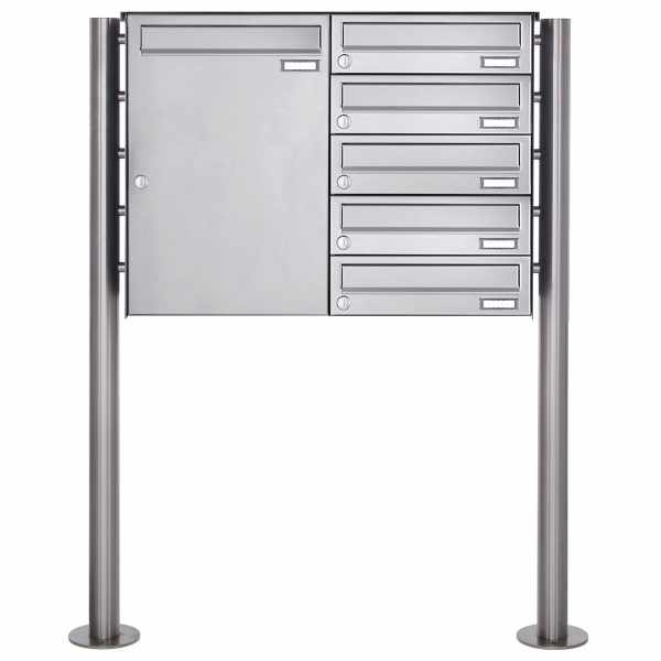 6er Edelstahl Standbriefkasten mit Großraumbriefkasten Design BASIC 381BP-550 ST-R