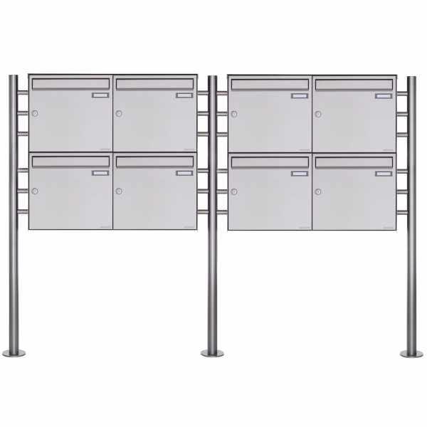 8er Standbriefkasten Design BASIC Plus 381X ST-R - Edelstahl V2A geschliffen
