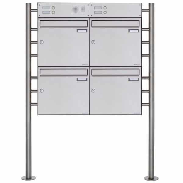 4er Standbriefkasten Design BASIC Plus 381X ST-R mit Klingelkasten - Edelstahl V2A geschliffen