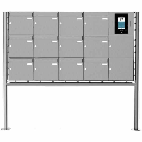12er Edelstahl Standbriefkasten BASIC Plus 381X ST-R - STR Digitale Türstation - Komplettset