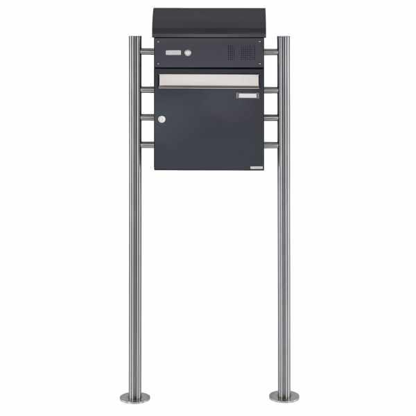 Standbriefkasten BASIC 383 ST-R mit Klingelkasten & Zeitungsfach - Edelstahl- RAL 7016 anthrazit
