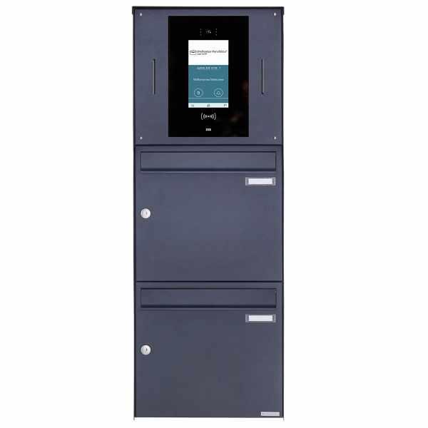 2er Edelstahl Aufputzbriefkasten BASIC Plus 382XA AP - RAL - STR Digitale Türstation - Komplettset