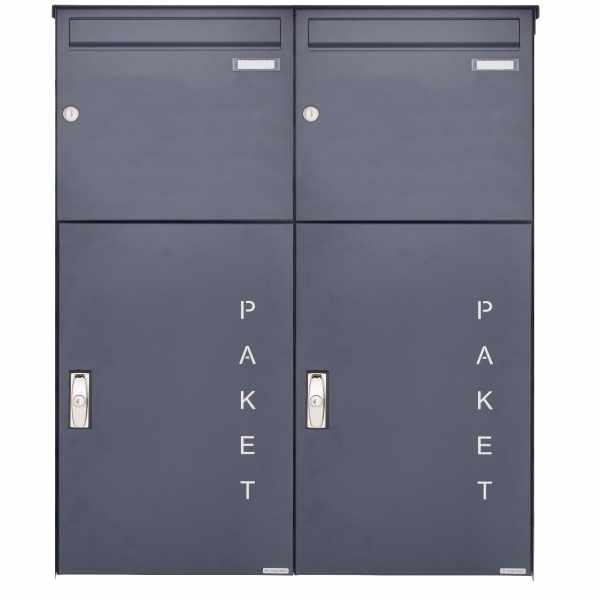 2er Aufputz Großraumbriefkasten BASIC 863 AP mit Paketfach 550x370 in RAL 7016 anthrazitgrau