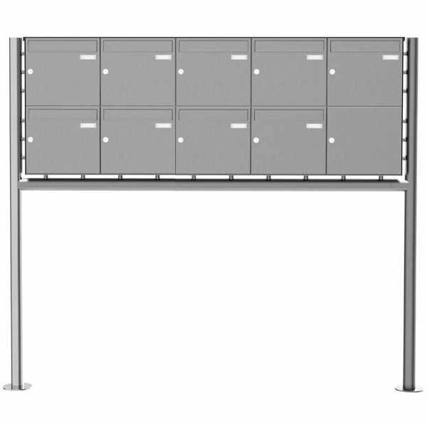 9er 2x5 Edelstahl Standbriefkasten Design BASIC Plus 381X ST-R - Edelstahl V2A geschliffen