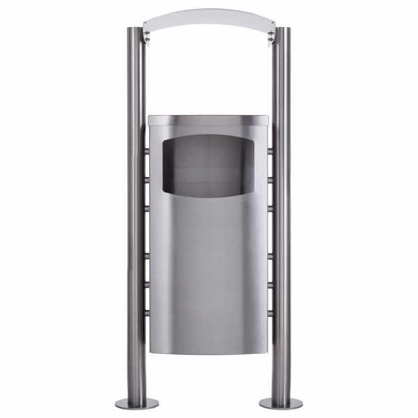 Abfalleimer - Abfallbehälter Design BASIC 650X mit Regendach - 45 Liter - Edelstahl geschliffen