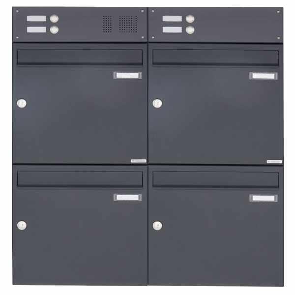 4er Aufputz Briefkasten Design BASIC 382A AP mit Klingelkasten - RAL 7016 anthrazitgrau