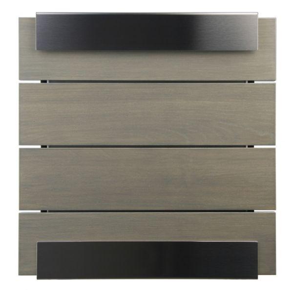 Briefkasten KEILBACH glasnost wood grey aus Edelstahl gebürstet & grau lasiertes Eichenholz