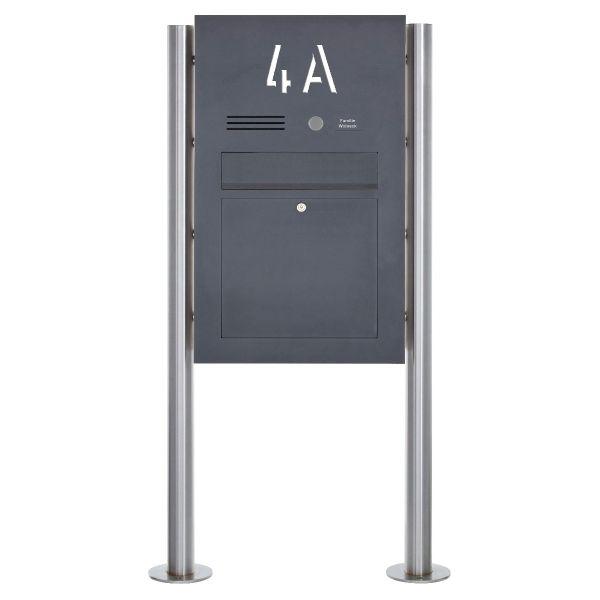 Edelstahl Standbriefkasten Designer BIG ST-R - Hausnummer hinterbeleuchtet - RAL Farbe - INDIVIDUELL