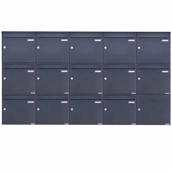 14er 3x5 Edelstahl Aufputz Briefkasten Design BASIC Plus 382XA AP - RAL nach Wahl