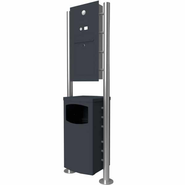 Edelstahl Standbriefkasten Designer Modell ST-R mit Abfallbehälter - Clean Edition - RAL nach Wahl
