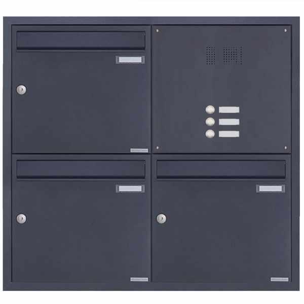 3er 2x2 Edelstahl Unterputz Briefkastenanlage BASIC Plus 382XU UP mit Klingelkasten - RAL nach Wahl