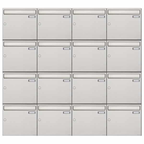 16er 4x4 Edelstahl Aufputz Briefkastenanlage Design BASIC 382A-AP