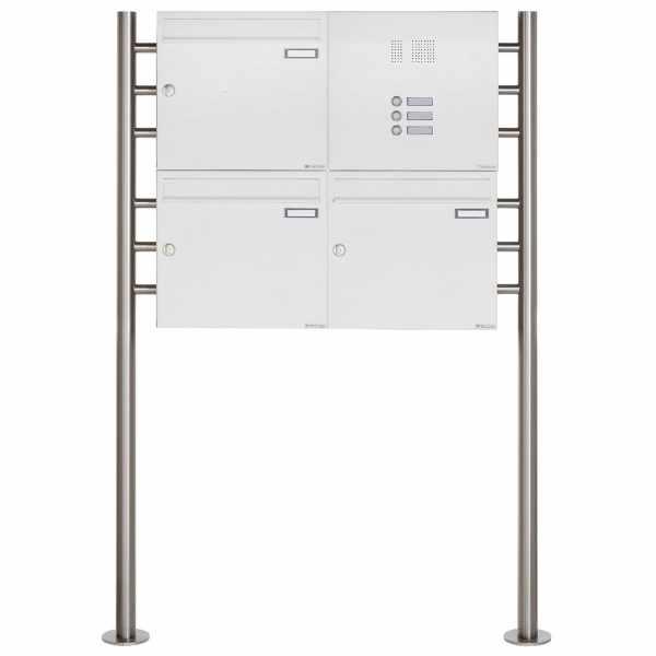 3er 2x2 Standbriefkasten Design BASIC 381 ST-R mit Klingelkasten - RAL 9016 verkehrsweiß
