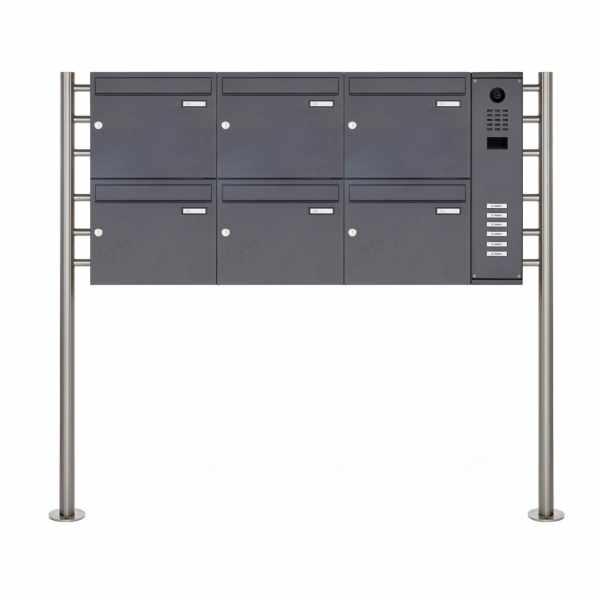 6er Standbriefkasten BASIC Plus 593R ST-R mit DoorBird D2100E Video- Sprechanlage - RAL nach Wahl