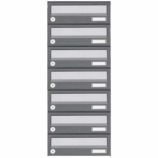 7er Aufputz Briefkastenanlage Design BASIC 385A AP - Edelstahl-RAL 7016 anthrazit