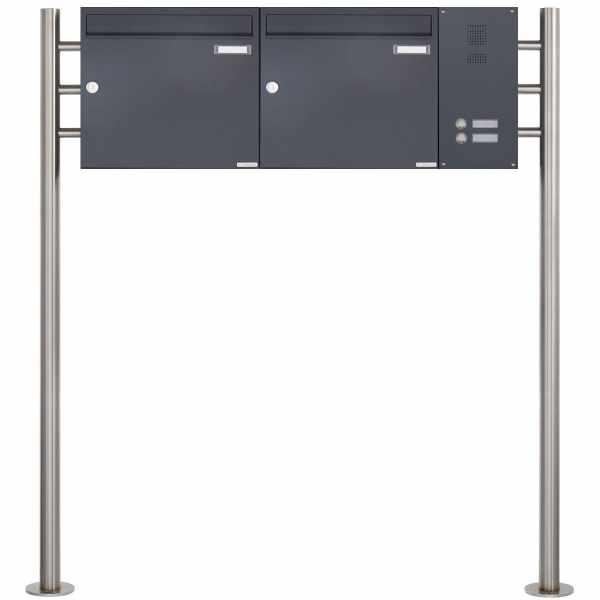 2er Edelstahl Standbriefkasten Design BASIC Plus 381X ST-R - Klingelkasten seitlich - RAL nach Wahl