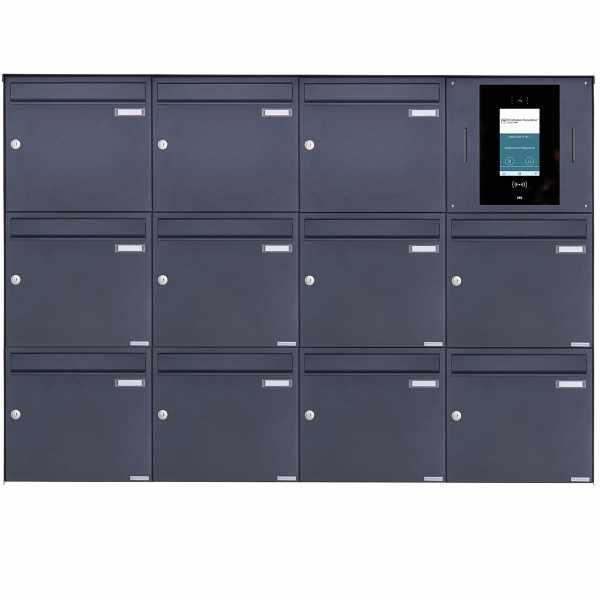 11er 4x3 Edelstahl Aufputzbriefkasten BASIC Plus 382XA AP - RAL nach Wahl - STR Digitale Türstation