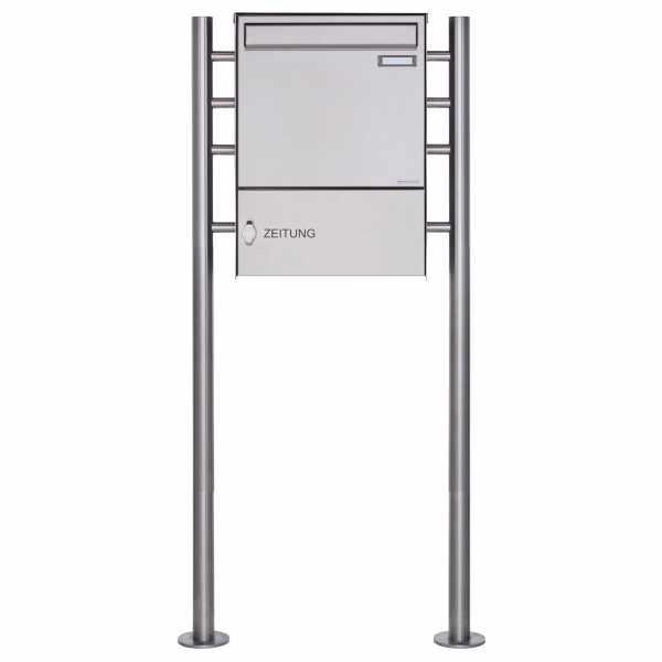 Zaunbriefkasten freistehend Design BASIC Plus 381XZ ST-R mit Zeitungsfach - Edelstahl geschliffen