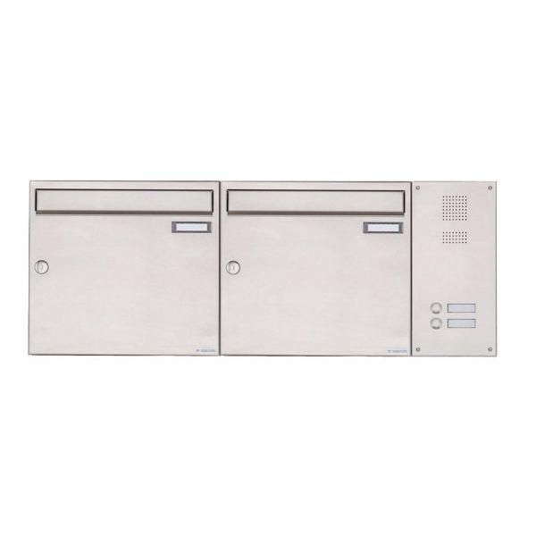 2er Edelstahl Aufputz Briefkasten BASIC Plus 592 AP mit Klingelkasten seitlich