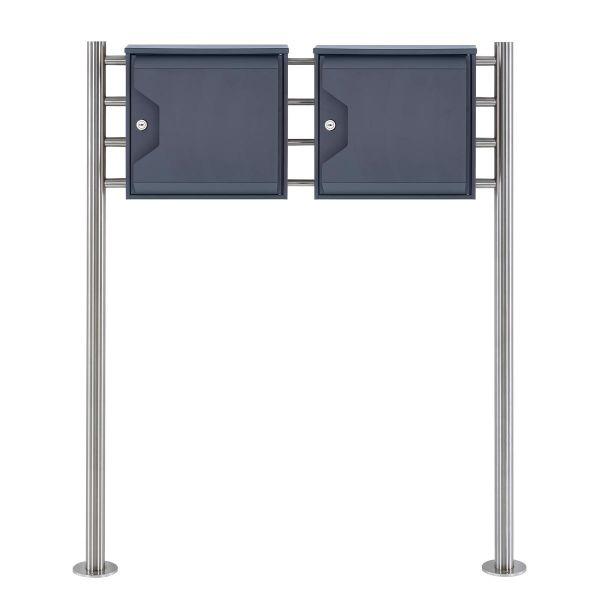 2er Standbriefkasten Design HESSE 155 mit Zeitungsfach - RAL 7016 anthrazitgrau