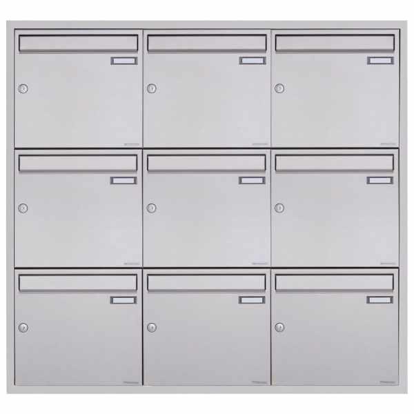 9er 3x3 Edelstahl Unterputz Briefkastenanlage BASIC Plus 382XU UP - Edelstahl geschliffen - 9 Partei