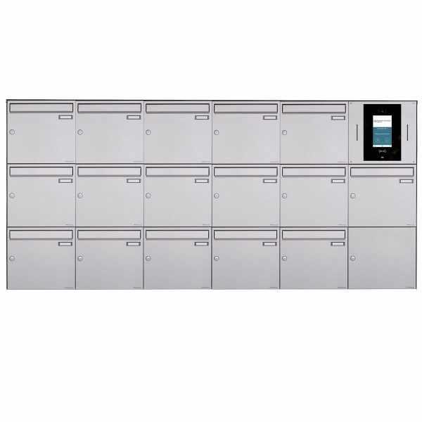 16er 6x3 Aufputzbriefkasten BASIC Plus 382XA AP - Edelstahl geschliffen - STR Digitale Türstation