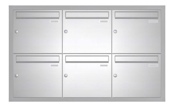 Unterputz Briefkasten BASIC 534 UP - Edelstahl V2A geschliffen - 6 Parteien