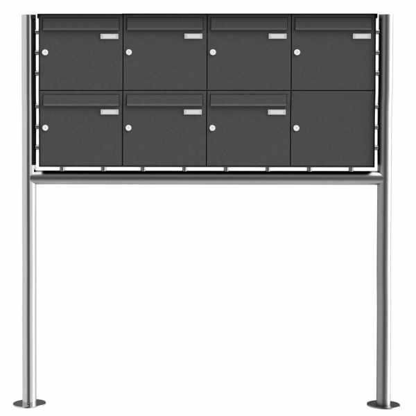 7er 2x4 Edelstahl Standbriefkasten Design BASIC Plus 381X ST-R - RAL nach Wahl