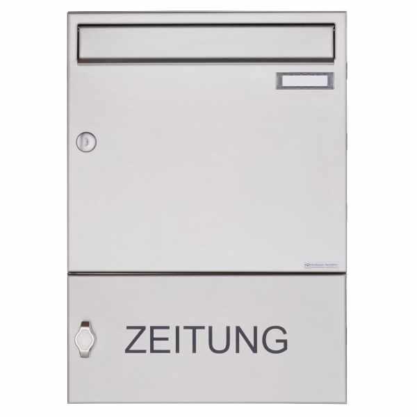 Edelstahl Aufputz Briefkasten Design BASIC 382A AP mit Zeitungsfach geschlossen