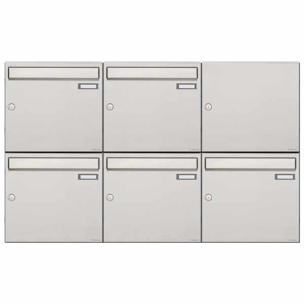 5er 2x3 Edelstahl Aufputz Briefkastenanlage Design BASIC 382A-AP