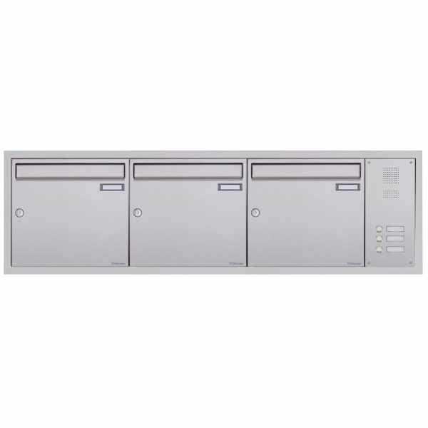 3er Edelstahl Unterputzbriefkasten BASIC Plus 382XU UP mit Klingelkasten seitlich
