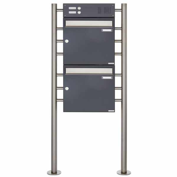 2er Standbriefkasten Design BASIC 381 ST-R mit Klingelkasten - Edelstahl-RAL 7016 anthrazitgrau