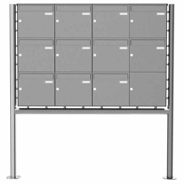 11er 3x4 Edelstahl Standbriefkasten Design BASIC Plus 381X ST-R - Edelstahl V2A geschliffen