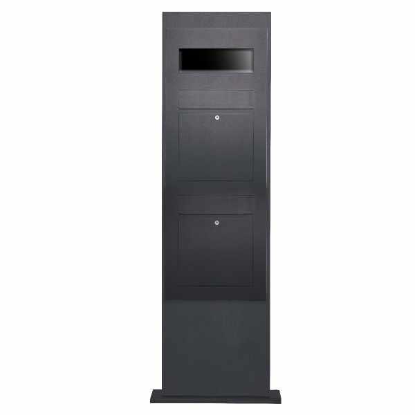 2er Edelstahl Briefkastensäule Designer Modell BIG - RAL Farbe - GIRA System 106 3-fach vorbereitet