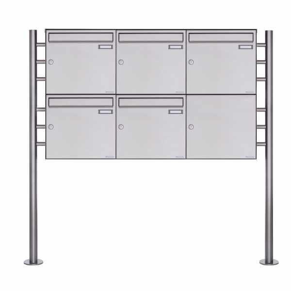 5er 2x3 Edelstahl Standbriefkasten Design BASIC Plus 381X ST R - Edelstahl V2A geschliffen