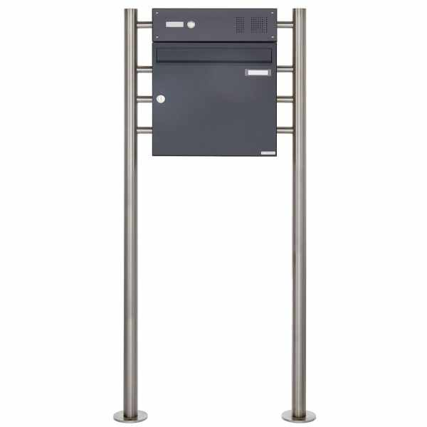Standbriefkasten Design BASIC 381 ST-R mit Klingelkasten - RAL 7016 anthrazitgrau