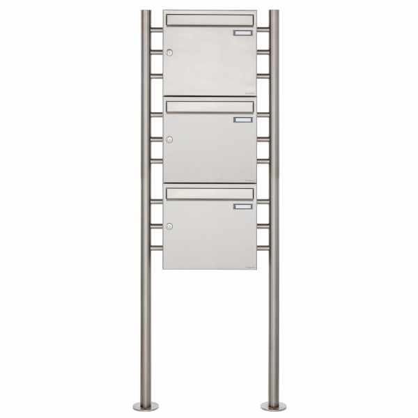 3er 3x1 Edelstahl Standbriefkasten Design BASIC 381 ST-R